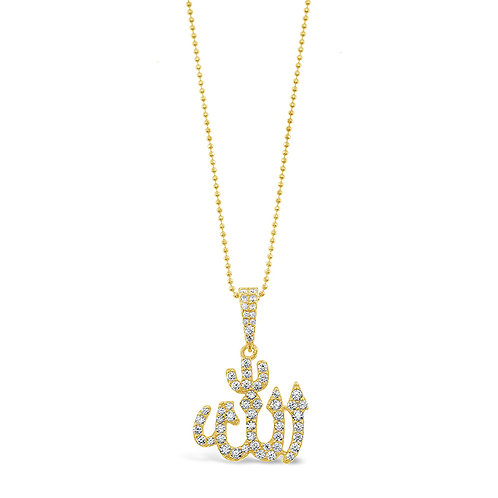Bitter Sweet Gold Plated Sterling Silver Cubic Zirconia Allah Necklace 142549