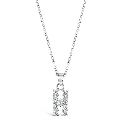 Sterling Silver Cubic Zirconia Initial H Necklace