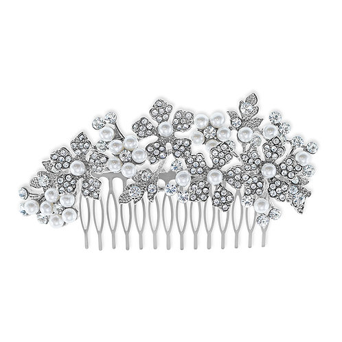 Bridal Silver Flower Pearl Hair Comb 142203