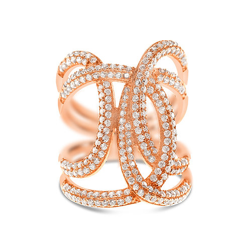 Bitter Sweet Rosegold Plated Sterling Silver Cubic Zirconia Ring 128077