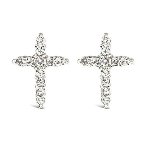 Sterling Silver Cubic Zirconia Cross Earrings 126053