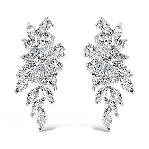 Bitter Sweet Silver Cubic Zirconia Floral Drop Earrings 142871