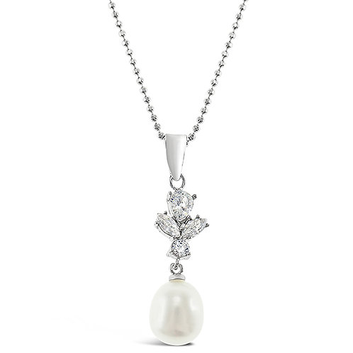 Bitter Sweet Sterling Silver Cubic Zirconia Pearl Necklace 143281