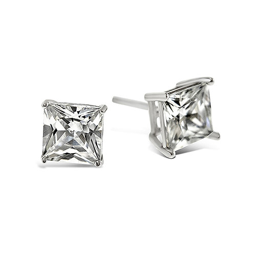 Bitter Sweet Sterling Silver Cubic Zirconia Square 3mm Studs 001470