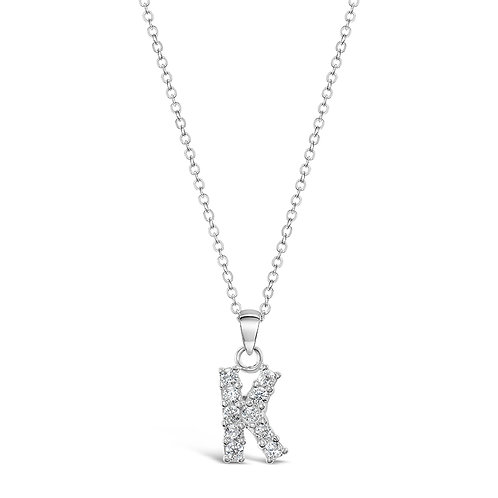 Sterling Silver Cubic Zirconia Initial K Necklace