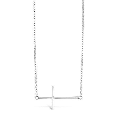 Bitter Sweet Sterling Silver Cross Sideway Necklace 142492