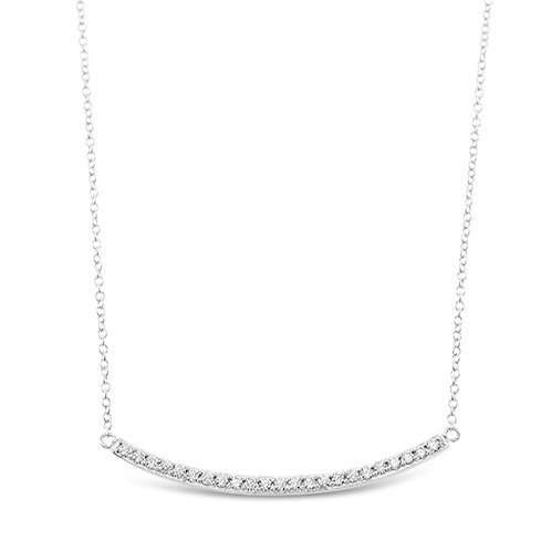 Bitter Sweet Sterling Silver Cubic Zirconia Bar Necklace 126026