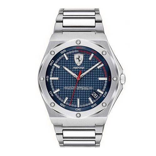 Scuderia Ferrari Mens Aspire Stainless Steel Blue Dial Date Display 140016