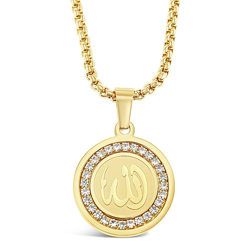 Bitter Sweet Stainless Steel Gold Allah Necklace 142826