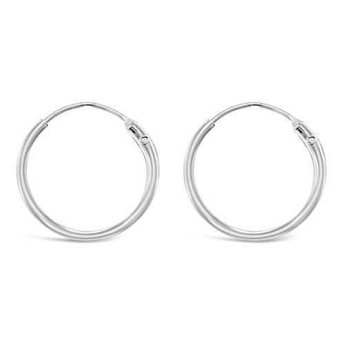 Sterling Silver Plain 12mm Hoops Earrings 132279