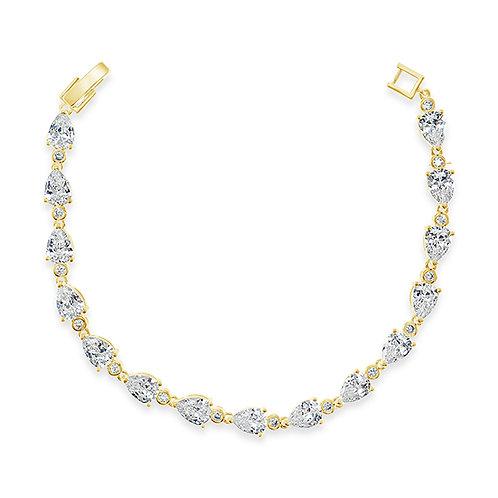 Bridal Gold Cubic Zirconia Tear Drop Bracelet 131638-10124402