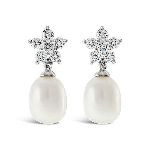Bitter Sweet Sterling Silver Cubic Zirconia Pearl Earrings 143288