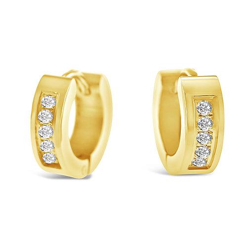 Bitter Sweet Jewelery Stainless Steel Gold Cubic Zirconia Huggie Earrings 142415