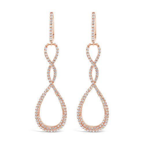 Rose Gold Plated Sterling Silver Cubic Zirconia Earrings 132691