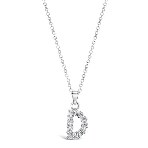 Sterling Silver Cubic Zirconia Initial D Necklace