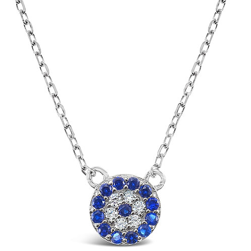 Bitter Sweet Sterling Silver Cubic Zirconia Evil Eye Necklace 143366