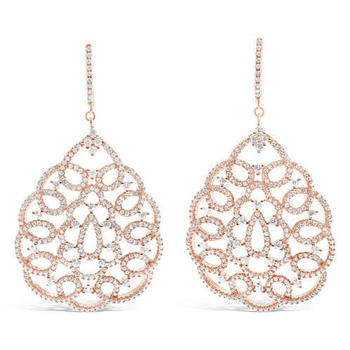 Rose Gold Plated Sterling Silver Cubic Zirconia Earrings 132693