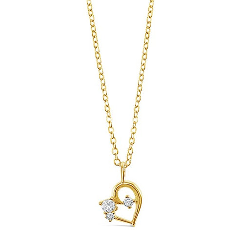 Bitter Sweet Gold Plated Sterling Silver Cubic Zirconia Heart Necklace 141200