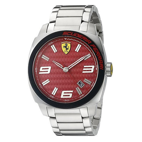 Scuderia Ferrari Mens Aero Evo Stainless Steel Red Dial Date display 128043