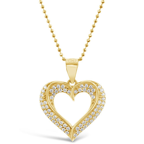 Gold Plated Sterling Silver Cubic Zirconia Heart Necklace 141190