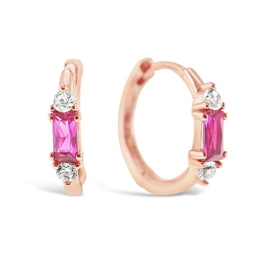 Rosegold Plated Sterling Silver Cubic Zirconia Earrings 141608