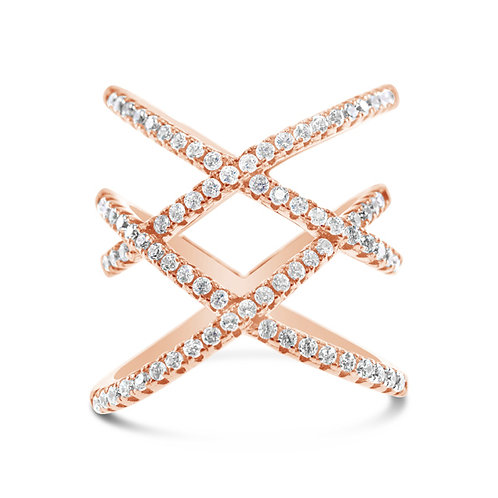 Rose Gold Plated Sterling Silver Cubic Zirconia Ring 132704