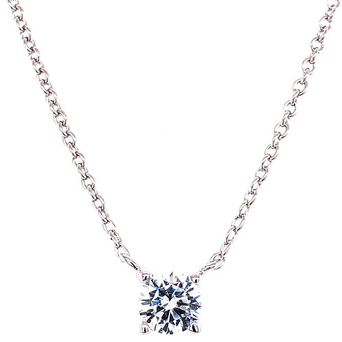 Bitter Sweet Sterling Silver Cubic Zirconia Round  8 Heart 8 arrow Cut Necklace 143472