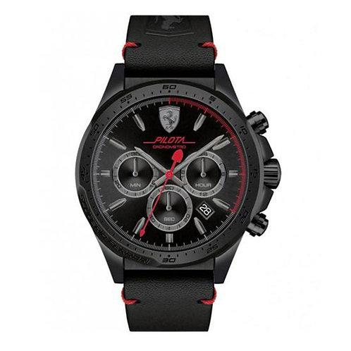 Scuderia Ferrari Mens Pilota Chronograph Black Dial Black Leather Strap 130726