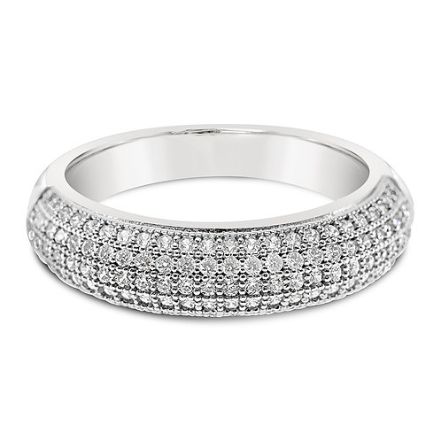 Bitter Sweet Sterling Silver Cubic Zirconia Half Band Ring 117731