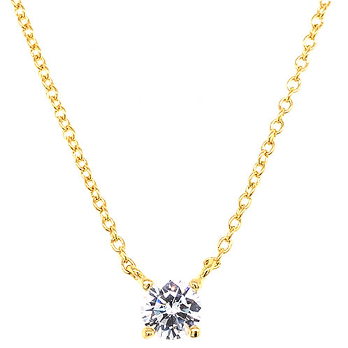 Bitter Sweet Gold Plated Sterling Silver Cubic Zirconia Round  8Heart 8Arrow Necklace 143473