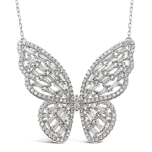 Bitter Sweet Sterling Silver Cubic Zirconia Butterfly Necklace 143004