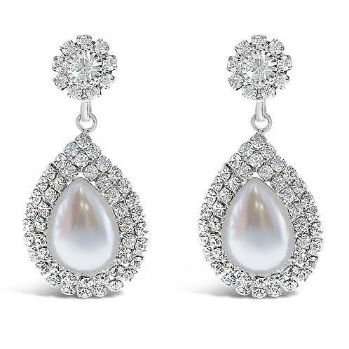 Fashion Silver Rhinestones Pearl Earrings 142187