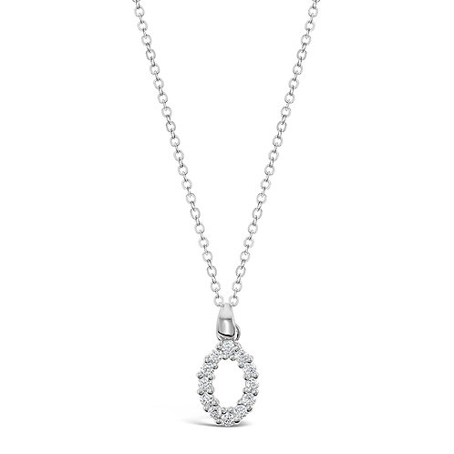 Sterling Silver Cubic Zirconia Initial O Necklace