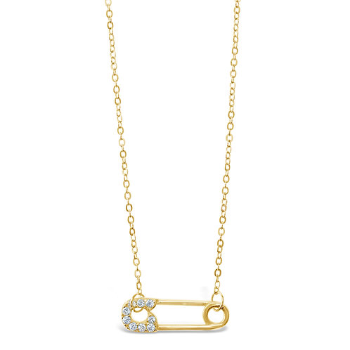 Yellow Gold Plated Sterling Silver Cubic Zirconia Necklace 141077