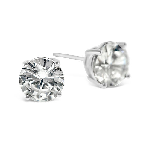 Bitter Sweet Sterling Silver Cubic Zirconia Round 7mm Studs 001458