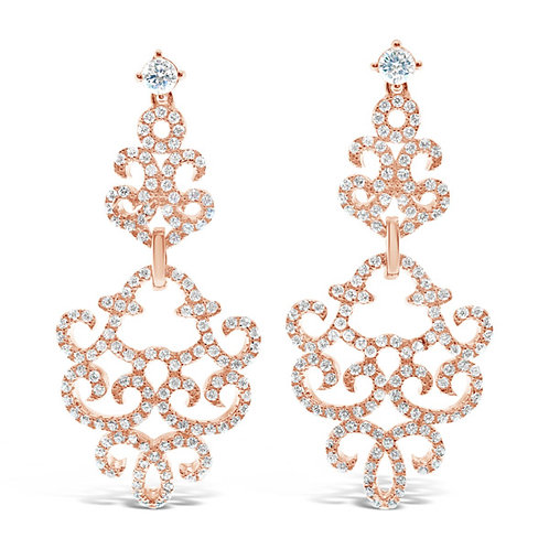 Rose Gold Plated Sterling Silver Cubic Zirconia Earrings 132689