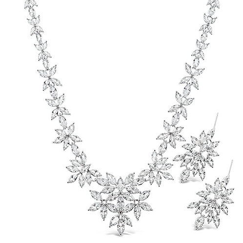 Bridal Silver Cubic Zirconia Necklace & Earrings Set 132432