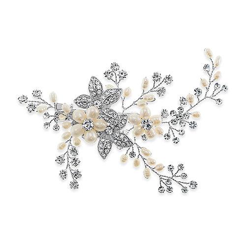Bridal Silver Leaf Pearl Hair Clip 137529