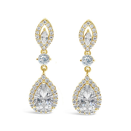 Gold Cubic Zirconia Tear Drop  Earrings 137412