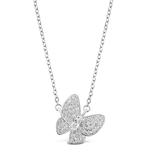 Bitter Sweet Sterling Silver Cubic Zirconia Butterfly Necklace 143386