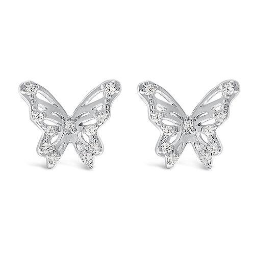 Bitter Sweet Sterling Silver Cubic Zirconia Butterfly Earrings 143358