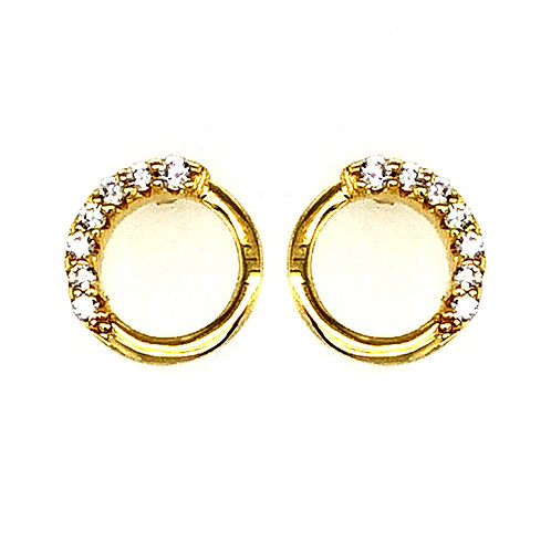 Bitter Sweet Gold Plated Sterling Silver Cubic Zirconia Pave Circle Stud Earrings 143555