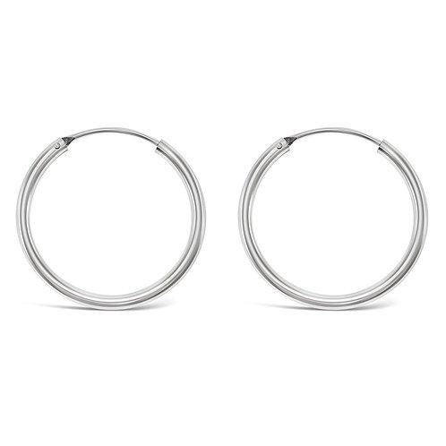 Bitter Sweet Sterling Silver Plain 25mm Hoops Earrings 141789