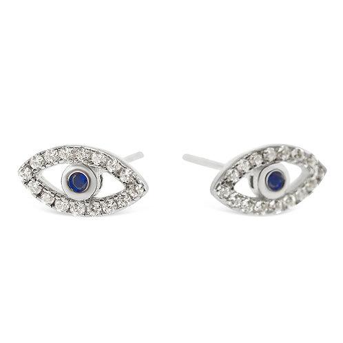 Sterling Silver Cubic Zirconia Evileye Earrings 140109