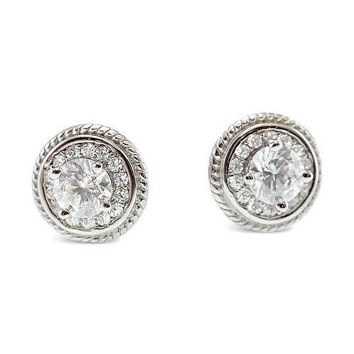 Sterling Silver Cubic Zirconia Round Earrings 140096
