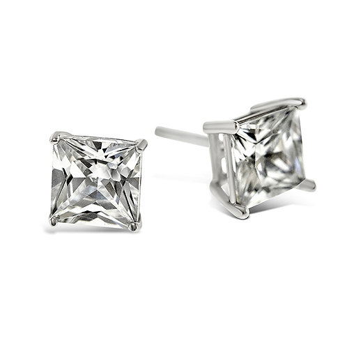 Bitter Sweet Sterling Silver Cubic Zirconia Square 6mm Studs 001468