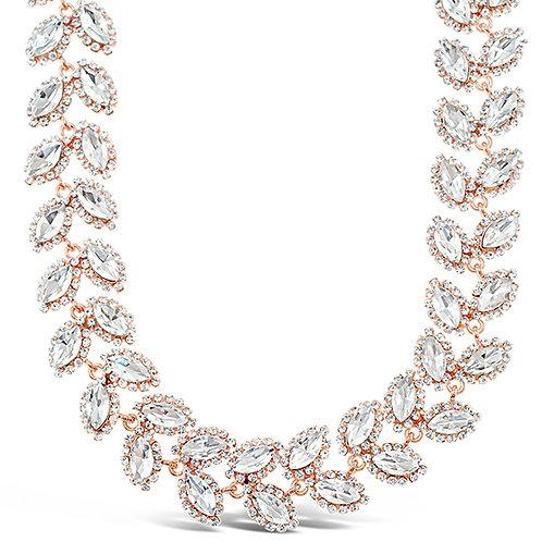 Costume Rose Gold Crystal Leaf Necklace 140993