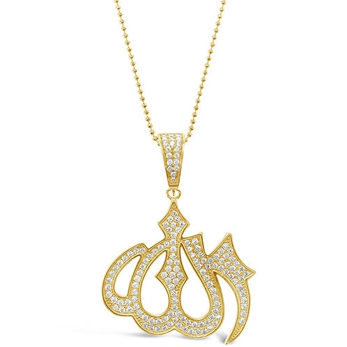 Bitter Sweet Gold Plated Sterling Silver Cubic Zirconia Allah Necklace 143385