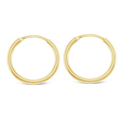 Bitter Sweet Gold Plated Sterling Silver Plain 12mm Hoops Earrings 141781