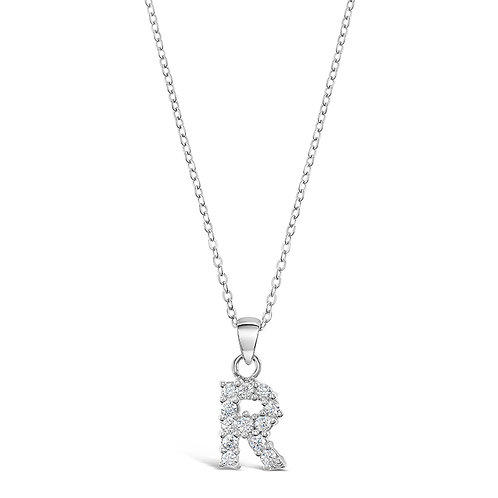 Sterling Silver Cubic Zirconia Initial R Necklace